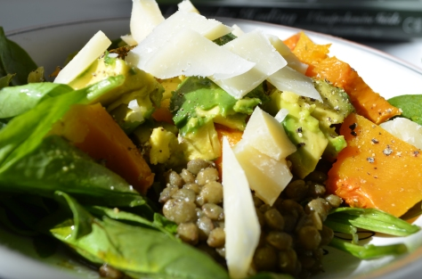 Simple Late Summer Lentil Avocado Pumpkin Salad