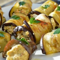 Aubergine rolls with pesto and fetta