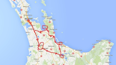 New Zealand_North Island_Our travel Route